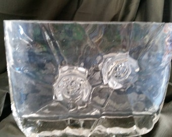 Crystal Art Glass Rose Bowl