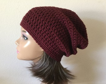 Maroon Slouchy Hat, Free Shipping, Burgundy Extra Slouchy Beanie, crochet slouch hat, Teen or adult Women's Modern slouchy, Trendy Beanie