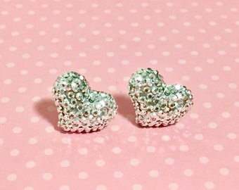 Sparkly Heart Stud Earrings, Silver Heart Studs, Valentine's Day Studs, Stainless Steel Studs, Silver Rhinestone Druzy Studs (SE12)