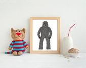 Bigfoot Printable, Yeti, Sasquatch, Monster Poster Download, Illustration, Big Foot Clipart, 8x10