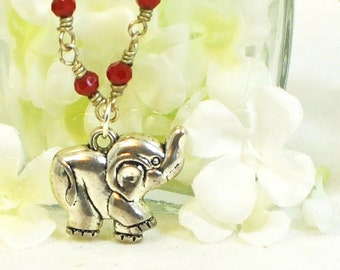 Elephant Necklace  - Bobo the Elephant Pendant - Elephant Jewelry - Lucky Charm - Red Crystal Necklace - Animal Jewelry