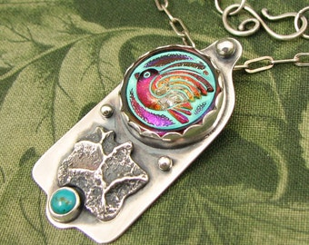 """BIRD Czech Glass Button """"Sky Washed"""" Sterling Pendant with Charcoal Block Casting and Turquoise Stone - OOAK"""