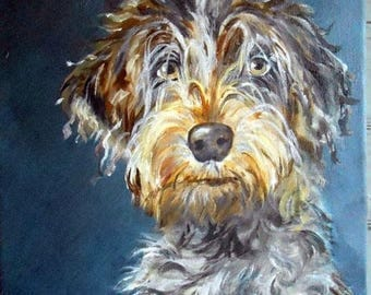 Custom Pet Portrait Painting, Original Fine Art Oils on Canvas Dog Portrait, Wire Haired Pointing Griffon or any breed