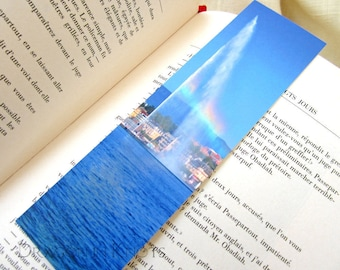 Jet d'Eau Rainbow Bookmark - Geneva, Switzerland travel photo, Geneva Lake fountain, European traveling, gift under 5, colorful page marker