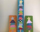 Rainbow Christmas trees, rainbow, christmas trees, starts, collage, paper, wood, unique