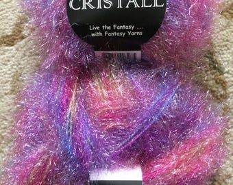 Crystal Live the Fantasy...with Fantasy Yarns, Two skeins, Pink, Purple, Blue, Orange, Green-Novelty yarn, carry along yarn