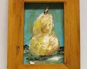 Original Pear Painting, Wood Frame, Original Art, Home Decor, Office Art, Wall Art, Gift, Winjimir, Still Life, Mid Century Modern, Frame,
