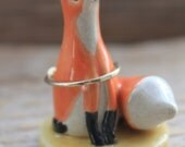 Fox Figurine and Ring Holder on Yellow Base - Ready to Ship