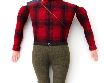 Burly Lumberjack man wool doll plush