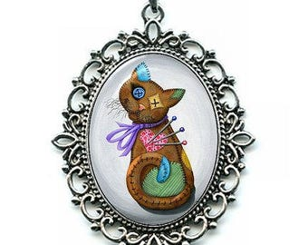 Voodoo Cat Doll Necklace Patchwork Cat Pin Cushion Cat Doll Button Eyes Cat Rag Doll Art Cameo Pendant 40x30mm Cat Lovers Jewelry