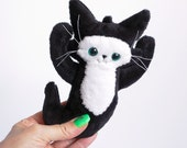 Black Ghost Cat - A soft friend to blame all your troubles on - small cat plush doll