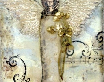 RESERVED FOR MARY, angel collage on deep edged canvas, wall art, home decor, collage art