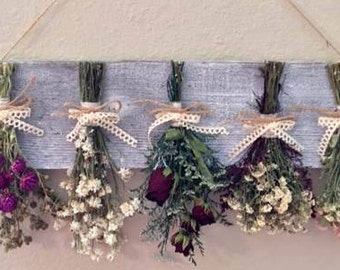 Rustic home decor,  dried flower wall hanging rack with flowers, dried flower rack, country decor, farmhouse decor, kitchen decor