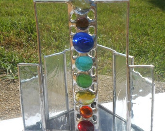 Clear Crown Chakra Triangle Shaped Stained Glass Candle Holder wood grain textured yoga office studio meditation enlightenment alignment