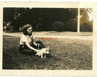 Vintage cat kitten woman smoking cigarette animal wearing pants photo snapshot vernacular pet