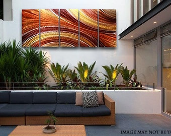 Extra Large Contemporary Metal Wall Sculpture In Red, Orange & Gold, Abstract Metal Painting, Modern Metal Art - Autumn Flow XL by Jon Allen