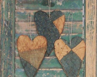 3 Rustic Heart Ornaments, Primitive Hearts, Farmhouse Style Americana Decor, Antique Quilt Country, Blue & White Polkadots - READY TO SHIP