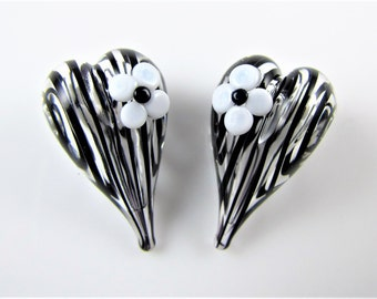Black and White Flower Hollow Heart Lampwork Glass Bead Pair