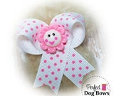EZ Snap Dog Bows™, Pink Flower, Puppy Dog Bows, Easy Dog Bow, Dog Grooming Bows, Beginner Dog Bows
