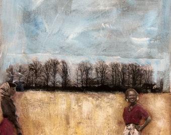 rural moody field painting vintage women