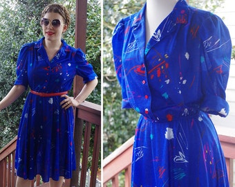 ARTIST 1980's Vintage Dark Blue Dress w/ Colorful PAINT Splatter Designs // by California Looks // size Medium Large // Made in USA
