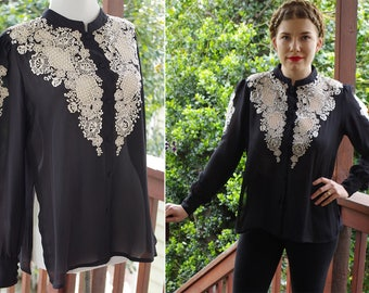 Voodoo Child // Vintage Ornate Sheer Black Blouse w/ Cream Eyelets + Embroidery // Made in Philippines // size Medium