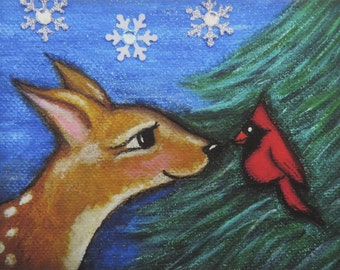 Fawn and Cardinal Fine Art Giclee Print, Animals, Birds, Wildlife, Winter, Nature, 5 x 7, Room Decor, Children's Art, Illustration