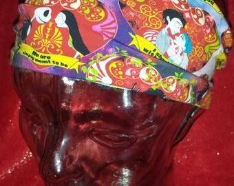 Tim Burton Couples Custom Print Cotton/Lycra Stretch Knit Scrunchy Wide Headband