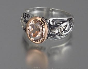 RESERVED for C. 1st payment - GUARDIAN ANGELS silver and 14k rose gold ring with Morganite