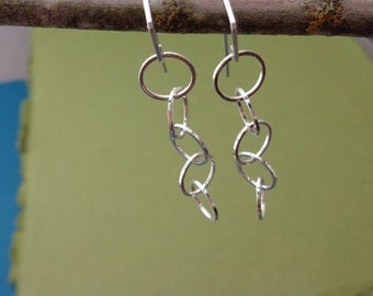 Ring Me Up 5: Sterling Silver Five Circle Square Wire Hoopy Earrings