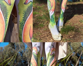 Tattoo Tights, Fox Tights white Closed Toe one size full length printed tights, pantyhose, nylons, tattoo socks