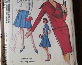 Vintage 60s Sailor Nautical Style McCalls 7490 Misses Two Piece Skirt Suit size 12-14 UNCUT