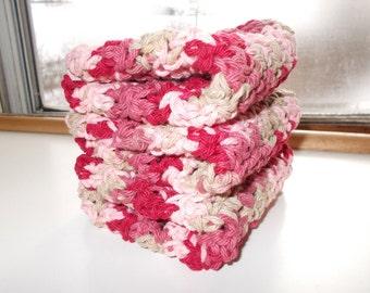 Set of 3 Crochet Dishcloths/Washcloths/Face cloths-Valentine Mix