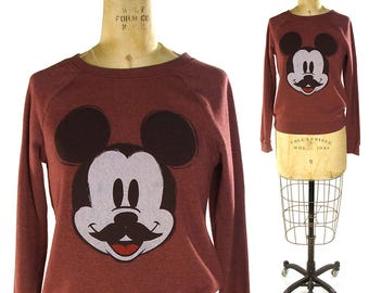 90s Mickey Mouse Sweatshirt / Vintage 1990s Disney Long Sleeve Pullover Raglan Sleeves / Super Soft / Hipster Mustache / Small