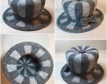 Striped  Little Gray Hat - Fascinator