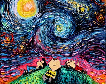 Peanuts Charlie Brown Art - Starry Night print van Gogh Never Saw Hennepin County by Aja 8x8, 10x10, 12x12, 20x20, 24x24 choose