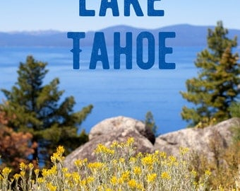 Landscape Print, Fine Art Photo, Water, Beach Art, Lake Tahoe Art, Mountains, Sky Blue, Typography, Yellow Wildflowers, Wall Art, Resort Art