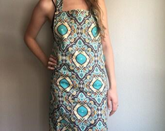 Womens Apron Full Apron Turquoise Damask
