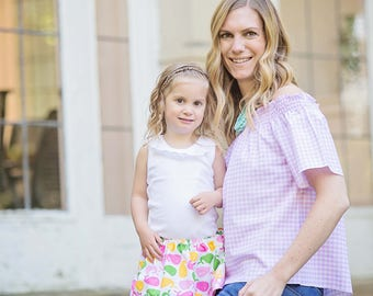 New Women's Off The Shoulders top, blouse in Pink Gingham
