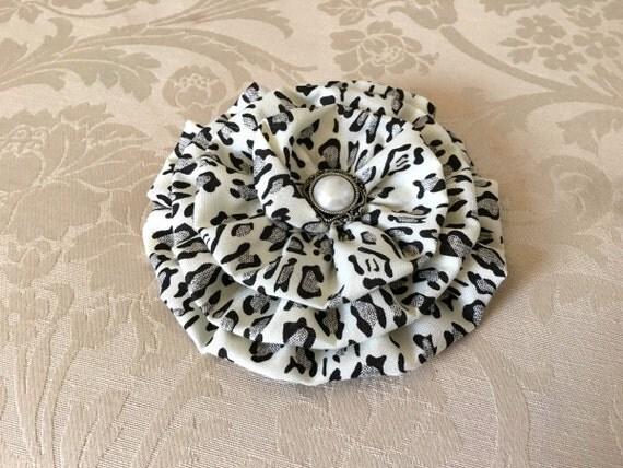 Large Leopard Flower Brooch.Leopard Hair Clip.Black,Ivory,Gray,Grey.leopard headpiece.cheetah hair clip.Leopard Hair Piece.Large Flower