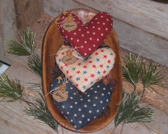 3 Primitive Americana July 4 Patriotic USA Red White & Blue Rustic Fabric Heart Ornies Ornaments Tucks Bowl Fillers - Glory - Honor - 1776 -