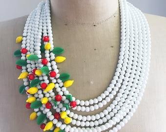 Statement Necklace, Vintage, Multi Strand, Glass Fruit  - Tutti Frutti