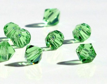 4mm Bicone Green Crystals Faceted 50 Beads