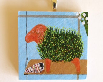 Garden Art, Chia art, Chia Pet Decoupaged Ornament or Pendant, Jewelry, Greenhouse, Chia seeds