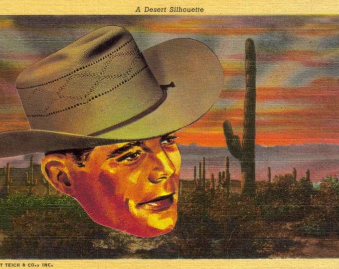 Western Cowboy Art Collage, Rustic Desert Landscape, Southwest Artwork