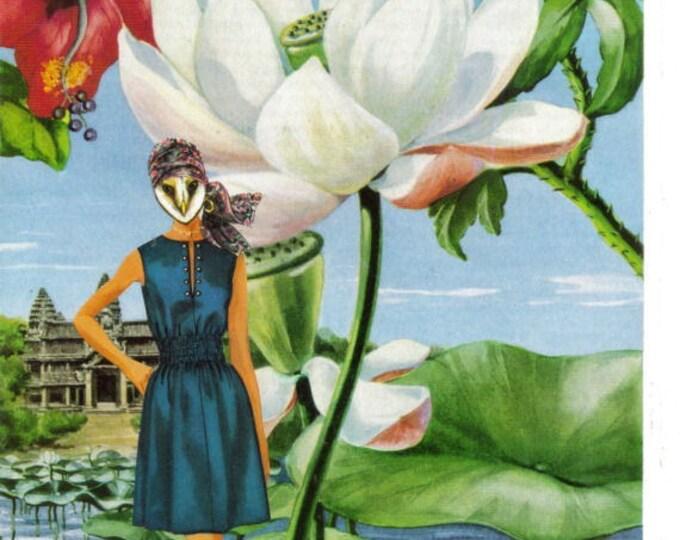 Bohemian Owl Art Collage, Boho Hippie Artwork