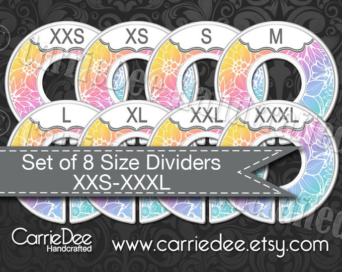 Clothing Size Dividers, Consultant Stylist Tools, Size Divider Set, Rainbow Floral Design, Size Cards