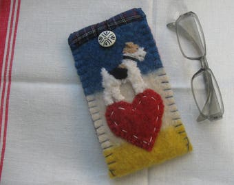 Wire Fox Terrier Dog Eyeglass / Sunglasses Case, Vintage Wool