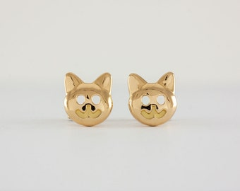 Cat Earrings Gold,  18k, stud, handcrafted