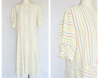 1980s rainbow stripes dress / large